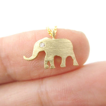Classic Elephant Shaped Silhouette Pendant Necklace in Gold | Animal Jewelry | DOTOLY