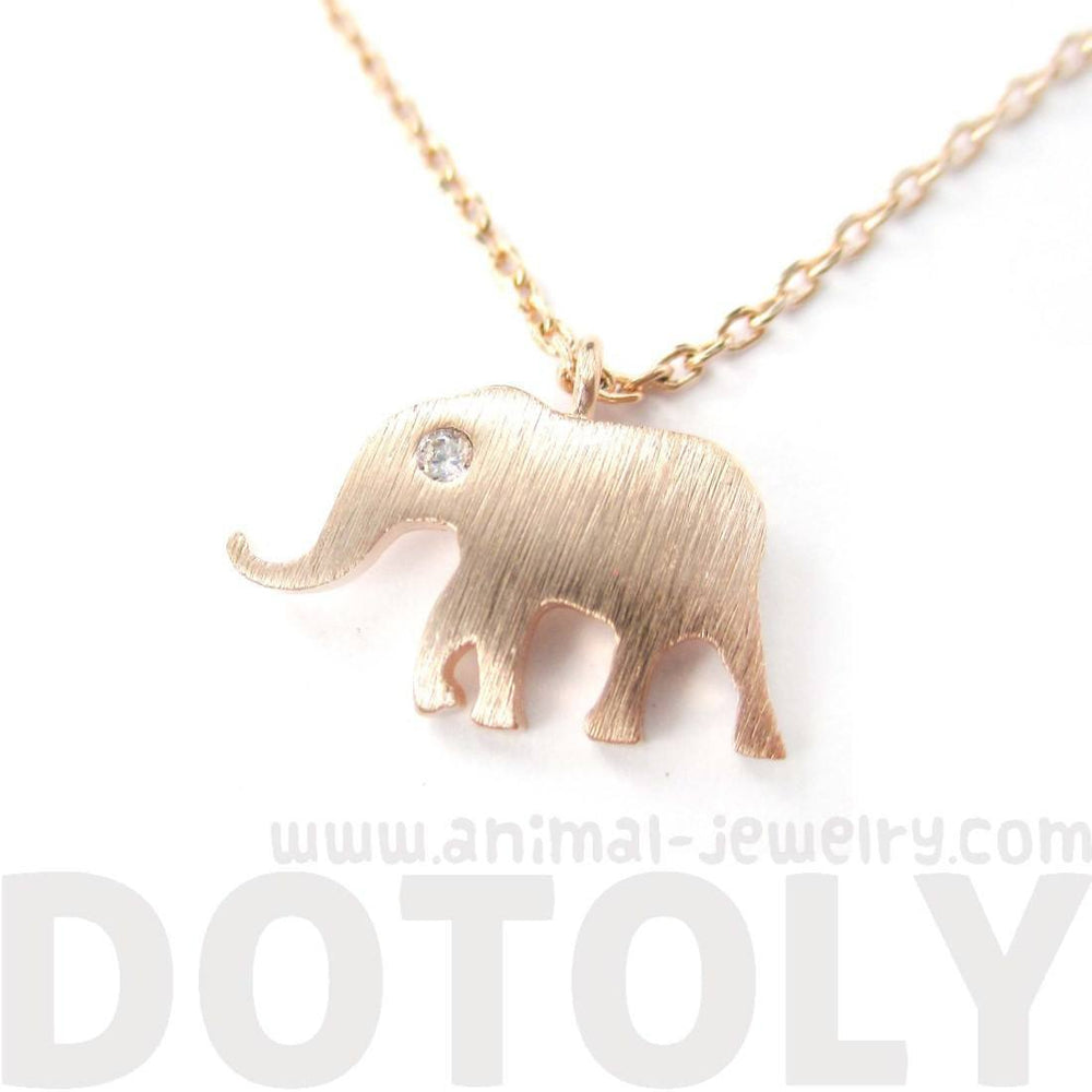 Classic Elephant Shaped Silhouette Pendant Necklace in Rose Gold | Animal Jewelry | DOTOLY