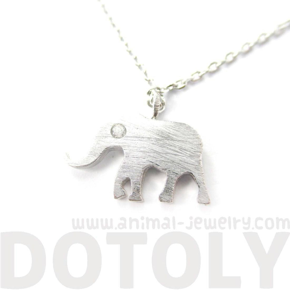 Classic Elephant Shaped Silhouette Pendant Necklace in Silver | Animal Jewelry | DOTOLY