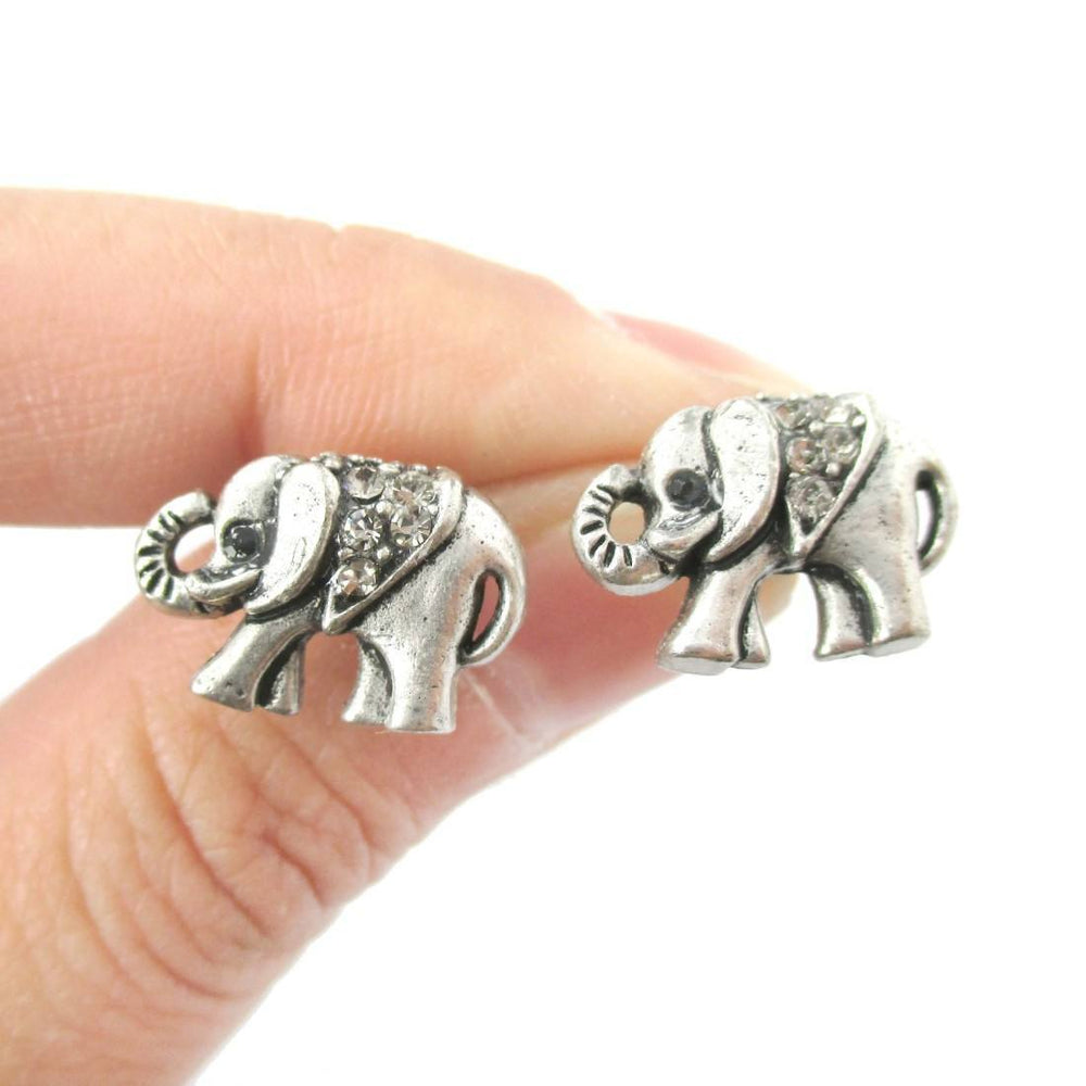 Classic Elephant Shaped Stud Earrings in Silver with Rhinestones | Animal Jewelry | DOTOLY