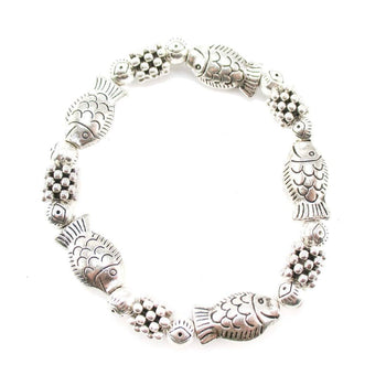 Classic Fish Shaped Beaded Charm Stretchy Bracelet in Silver | DOTOLY | DOTOLY