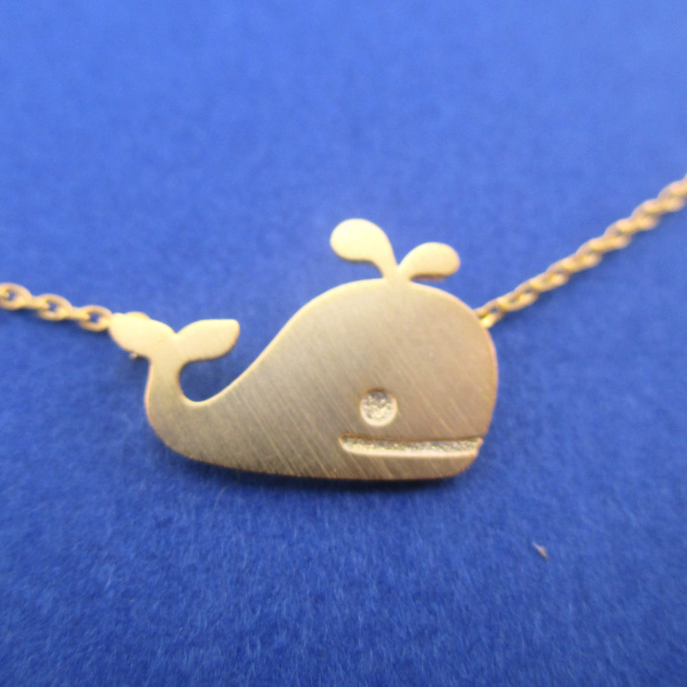 Classic Happy Whale Silhouette Pendant Necklace Gold | Animal Jewelry