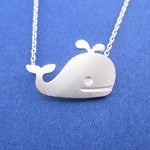 Classic Happy Whale Silhouette Pendant Necklace in Silver | Animal Jewelry