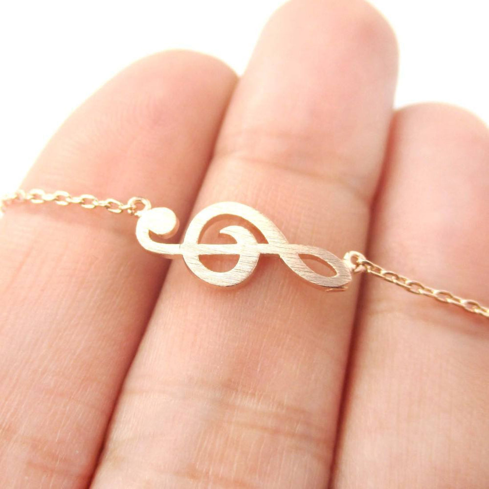 Classic Treble Clef Shaped Music Themed Charm Necklace in Rose Gold