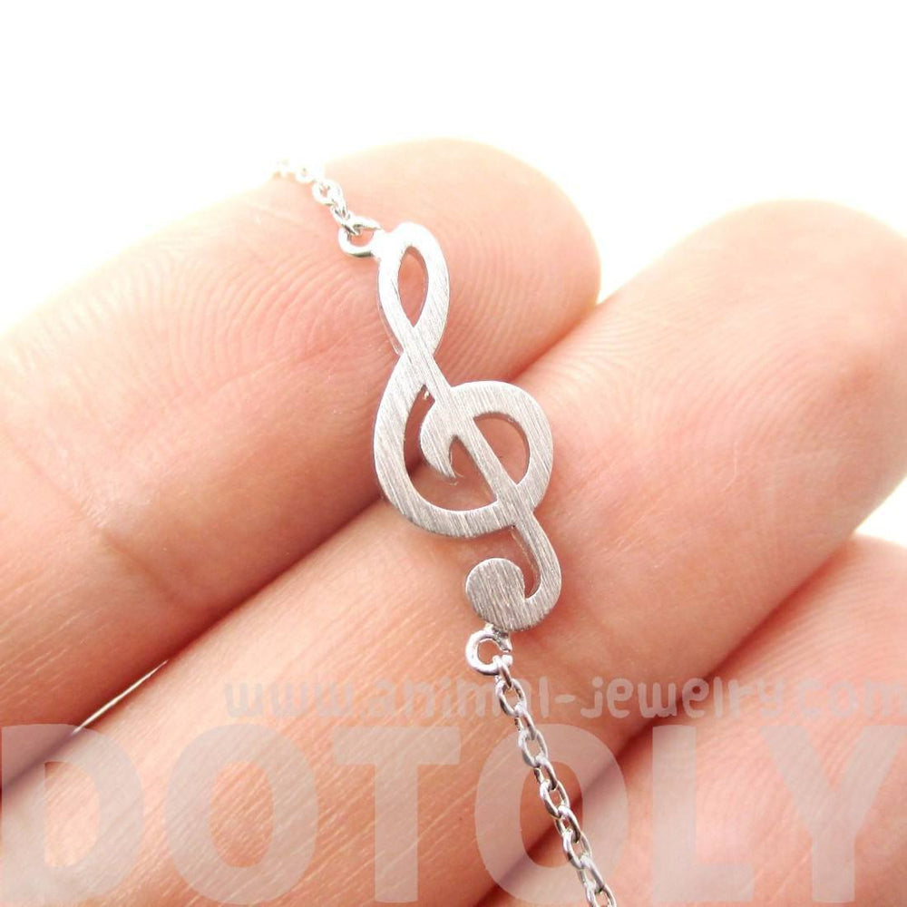 Classic Treble Clef Shaped Music Themed Charm Necklace in Silver