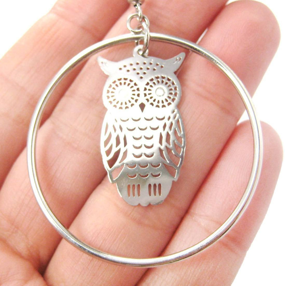 Owl Silhouette Shaped Dangle Hoop Earrings in Silver | Animal Jewelry