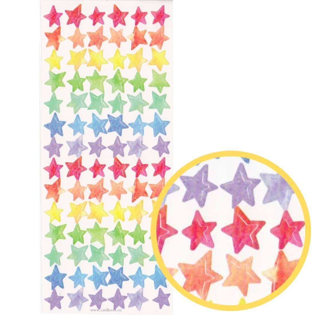 classic rainbow colored star shaped stickers for scrapbooking dotoly