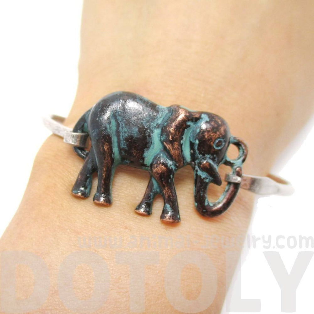 Classic Silver Bangle Bracelet Cuff with Antique Elephant Pendant | Animal Jewelry | DOTOLY