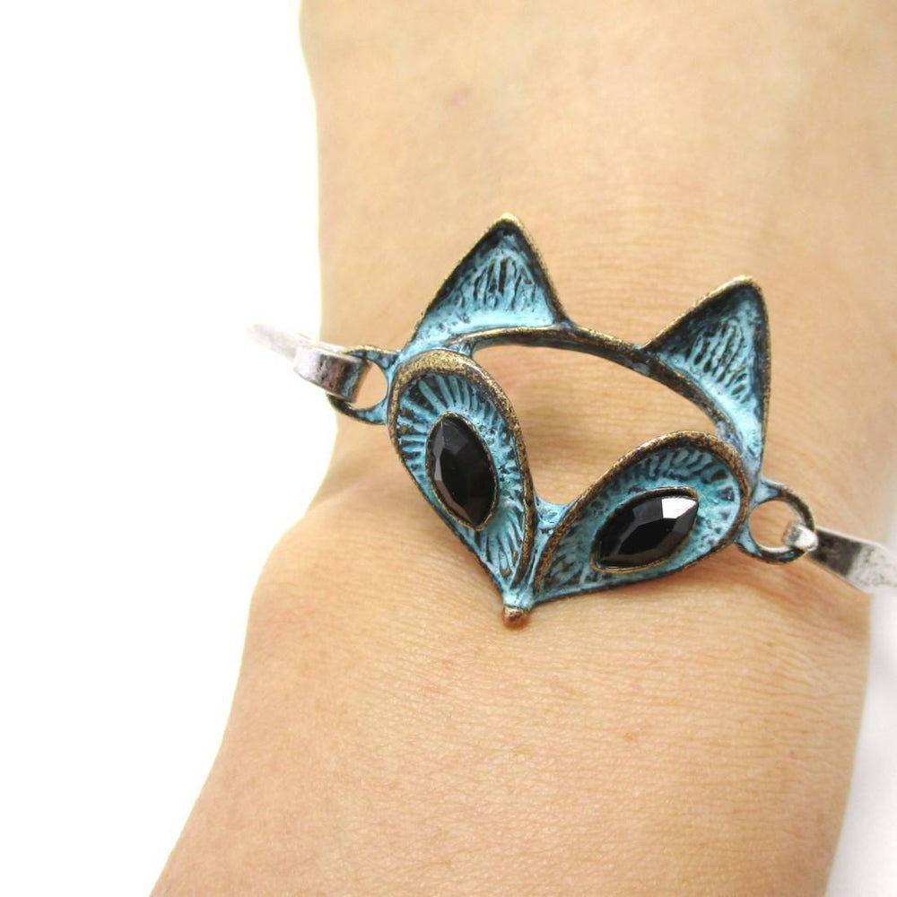 Classic Bangle Bracelet Cuff with Antique Fox Pendant