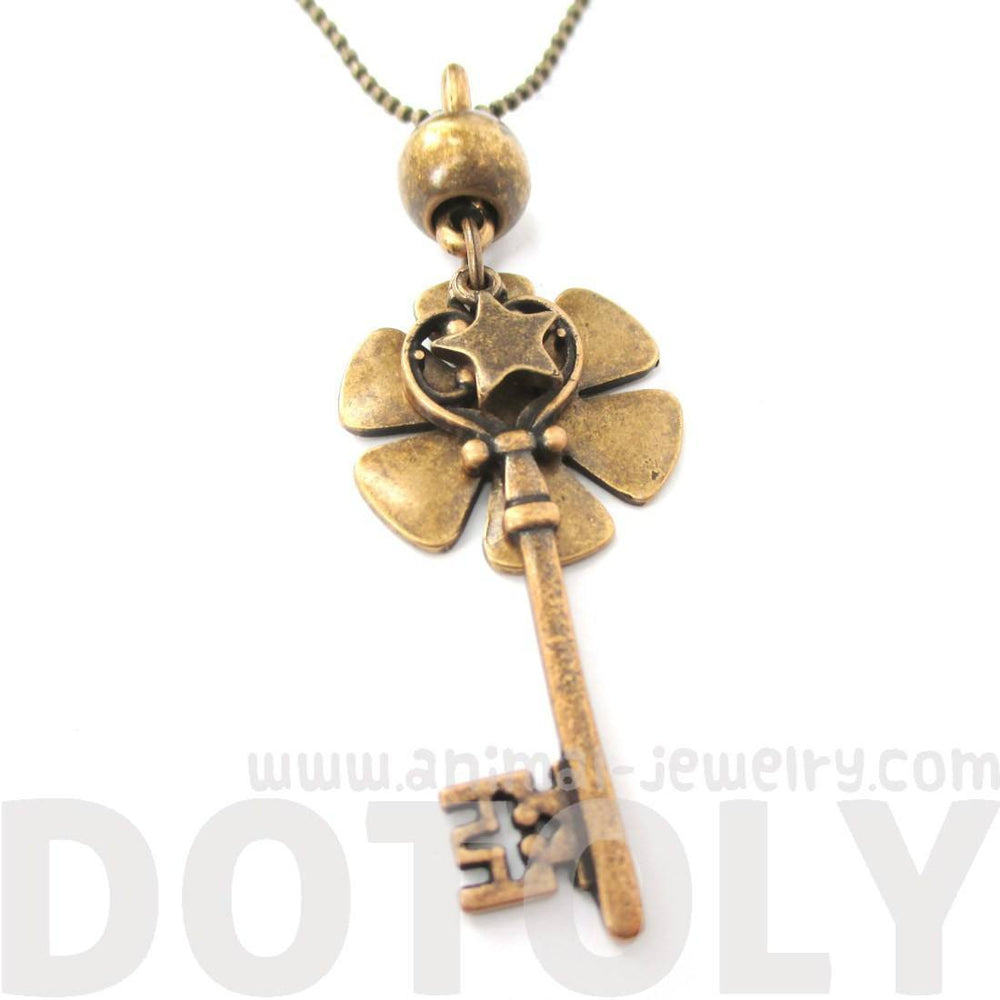 Classic Skeleton Key and Floral Pendant Star Charm Necklace in Bronze