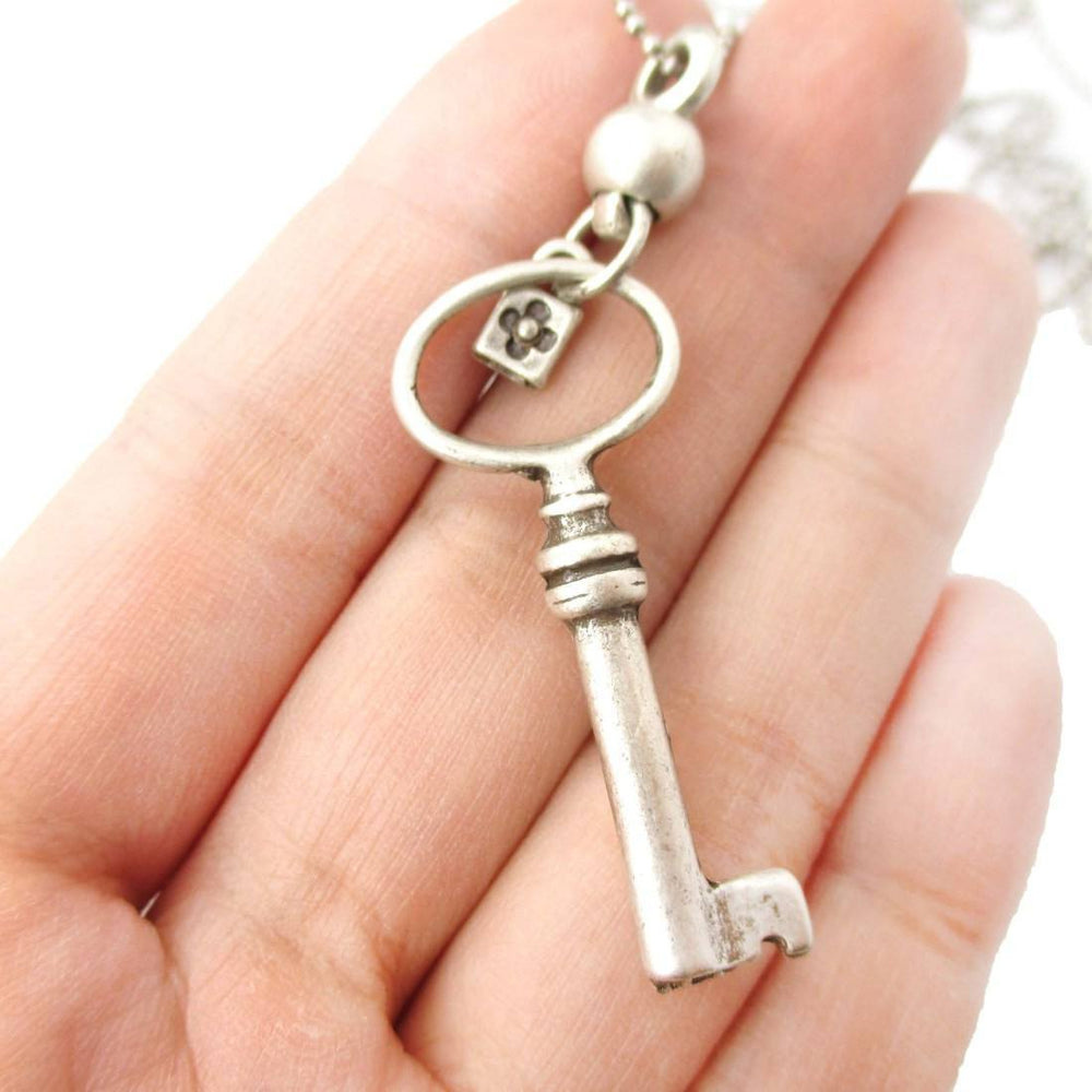 Classic Skeleton Key Pendant and Tiny Lock Charm Necklace in Silver