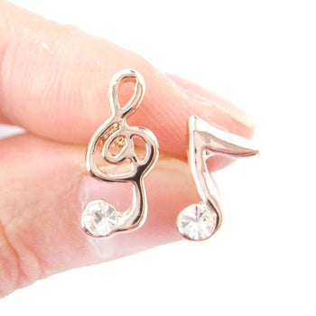 Treble Clef Music Note Shaped Rhinestones Stud Earrings in Rose Gold
