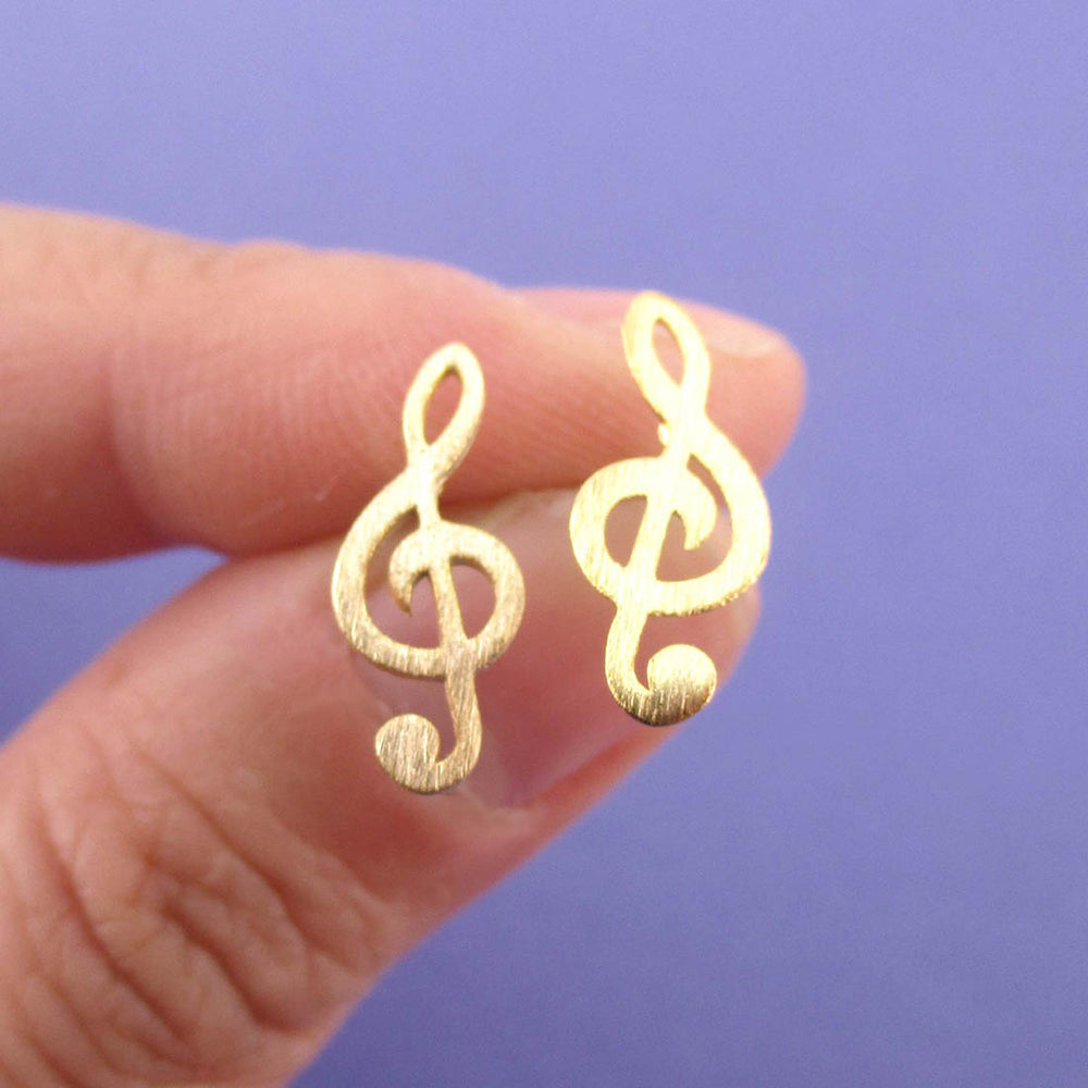 Classic Treble Shaped Stud Earrings in Gold for Music Lovers | DOTOLY
