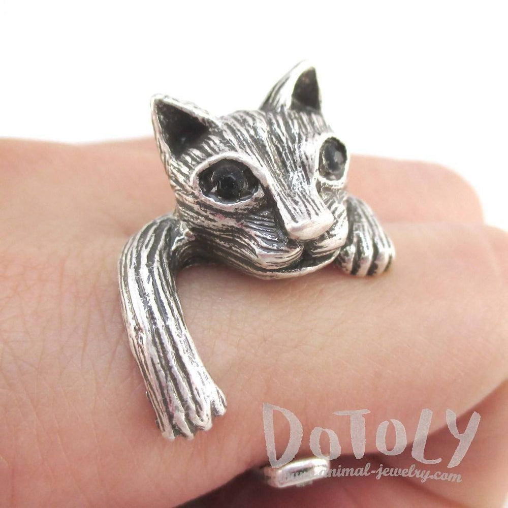 Clingy Kitty Cat Wrapped Around Your Finger Shaped Ring in Silver