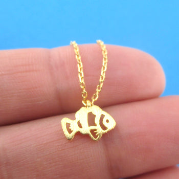 Clownfish Anemonefish Shaped Tropical Marine Fish Pendant Necklace