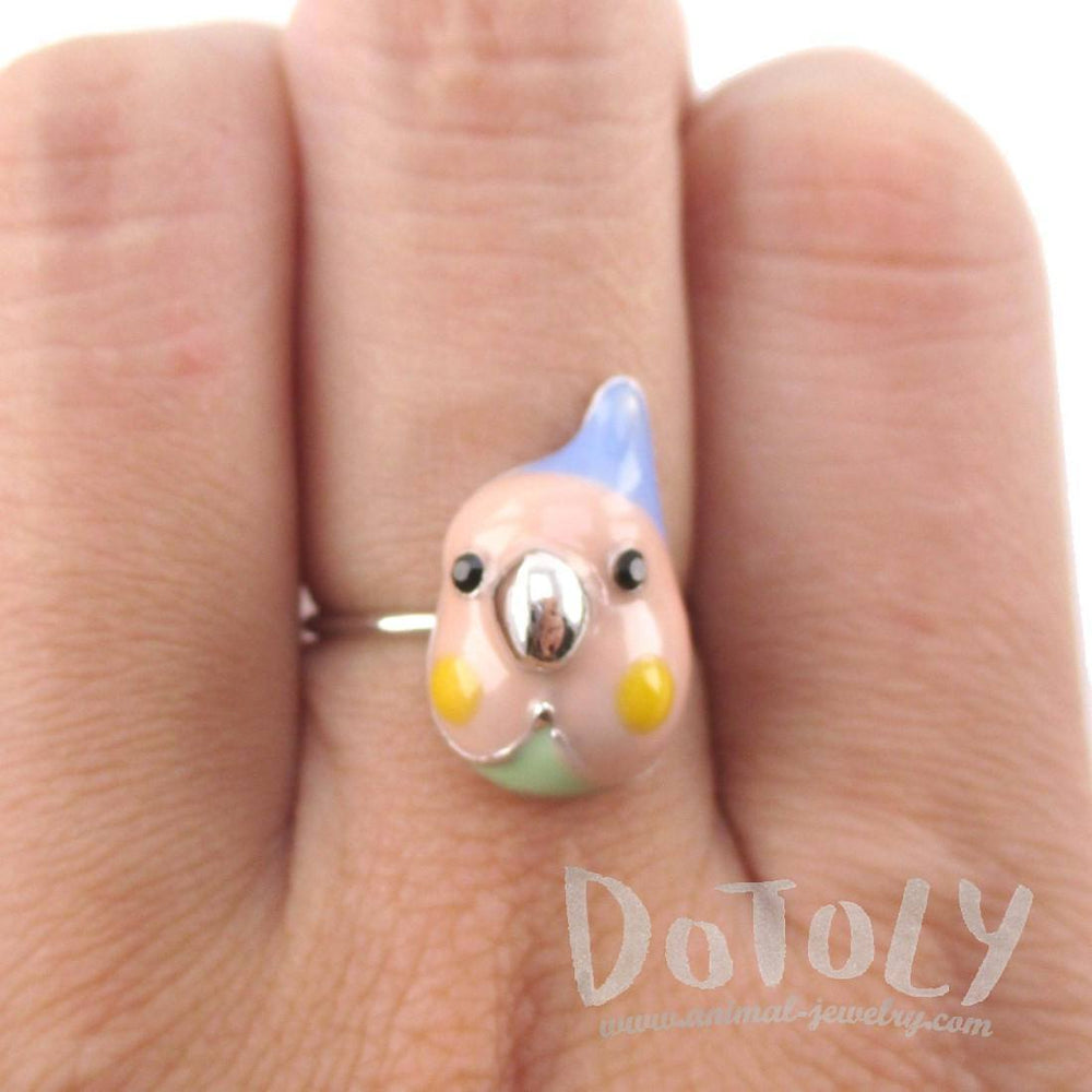 Cockatiel Parakeet Bird Face Shaped Adjustable Enamel Ring | DOTOLY