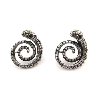 Coiled Snake Shaped Stud Earrings in Silver with Rhinestones | DOTOLY