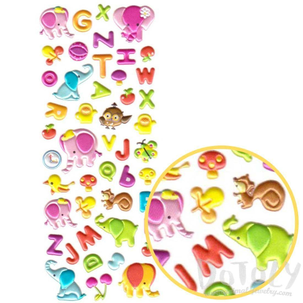 Alphabet ABCs Elephant Shaped Puffy Typography Stickers