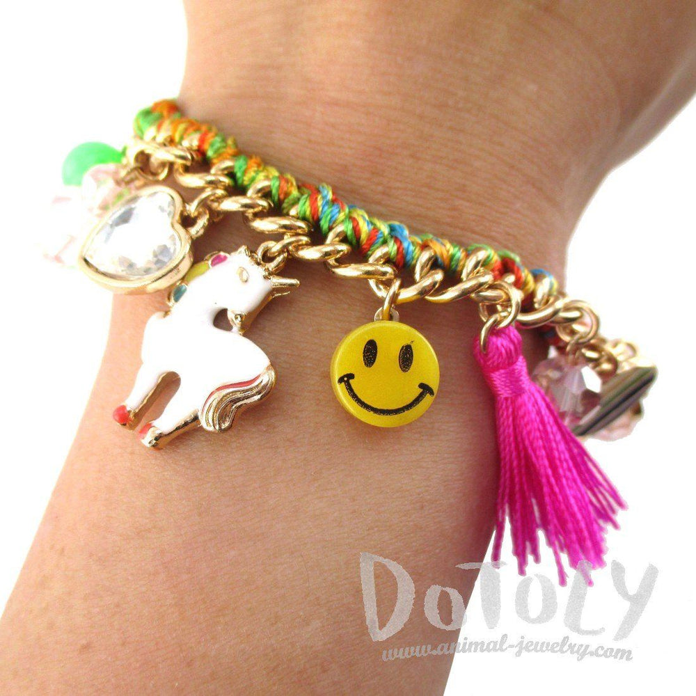 Colorful Braided Unicorn Rainbows Smiley Faces Mixed Charm Bracelet