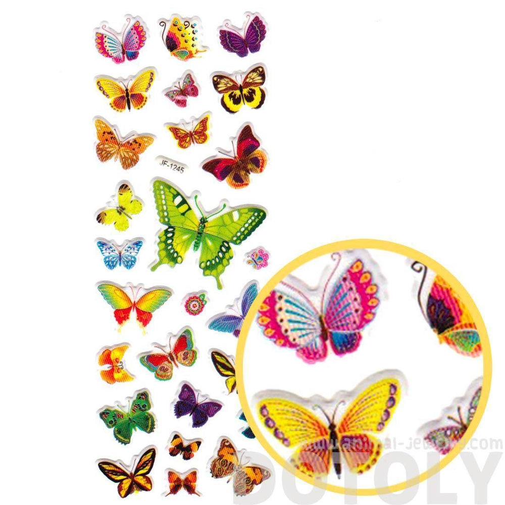 Colorful Butterfly Shaped Insect Themed Stickers for Decorating