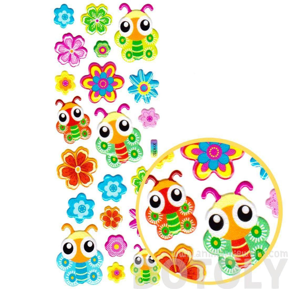 Colorful Cartoon Butterfly and Flowers Shaped Puffy Stickers for Kids