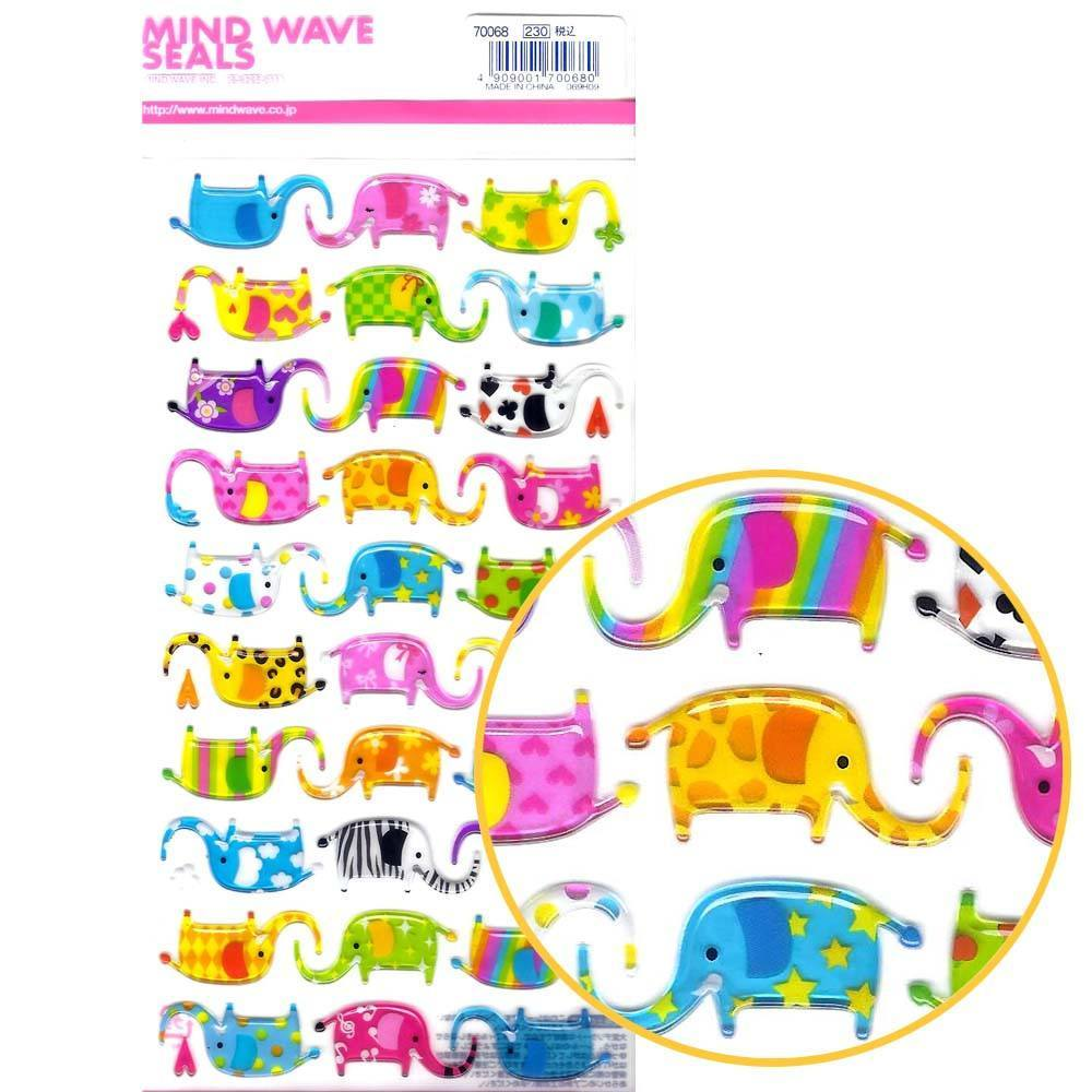 colorful-elephant-animal-jelly-see-through-puffy-stickers-for-scrapbooking-and-decorating