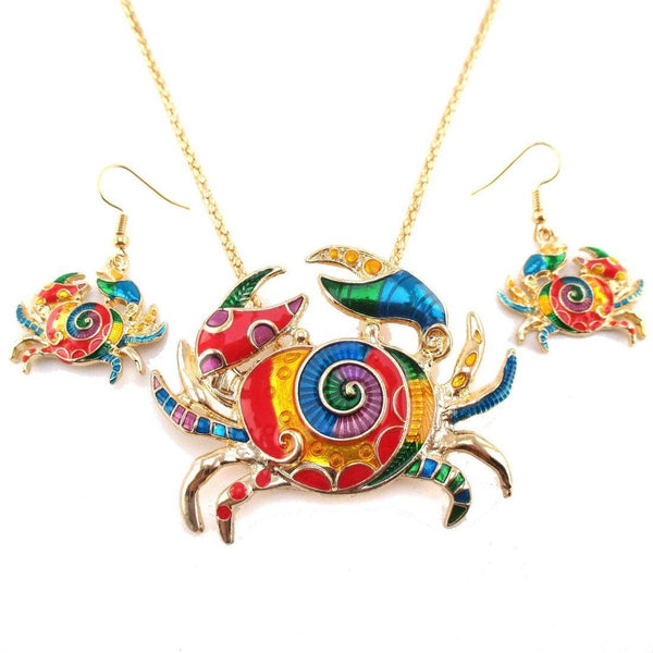 Colorful Enamel Crab Shaped Dangle Earrings and Necklace 2 Piece Set