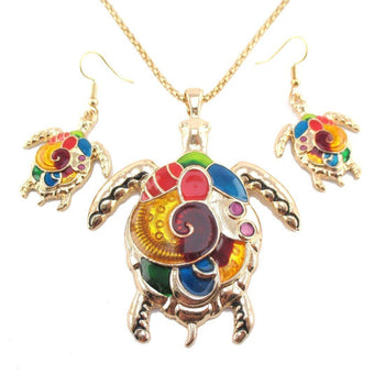 Colorful Enamel Sea Turtle Dangle Earrings and Necklace 2 Piece Set