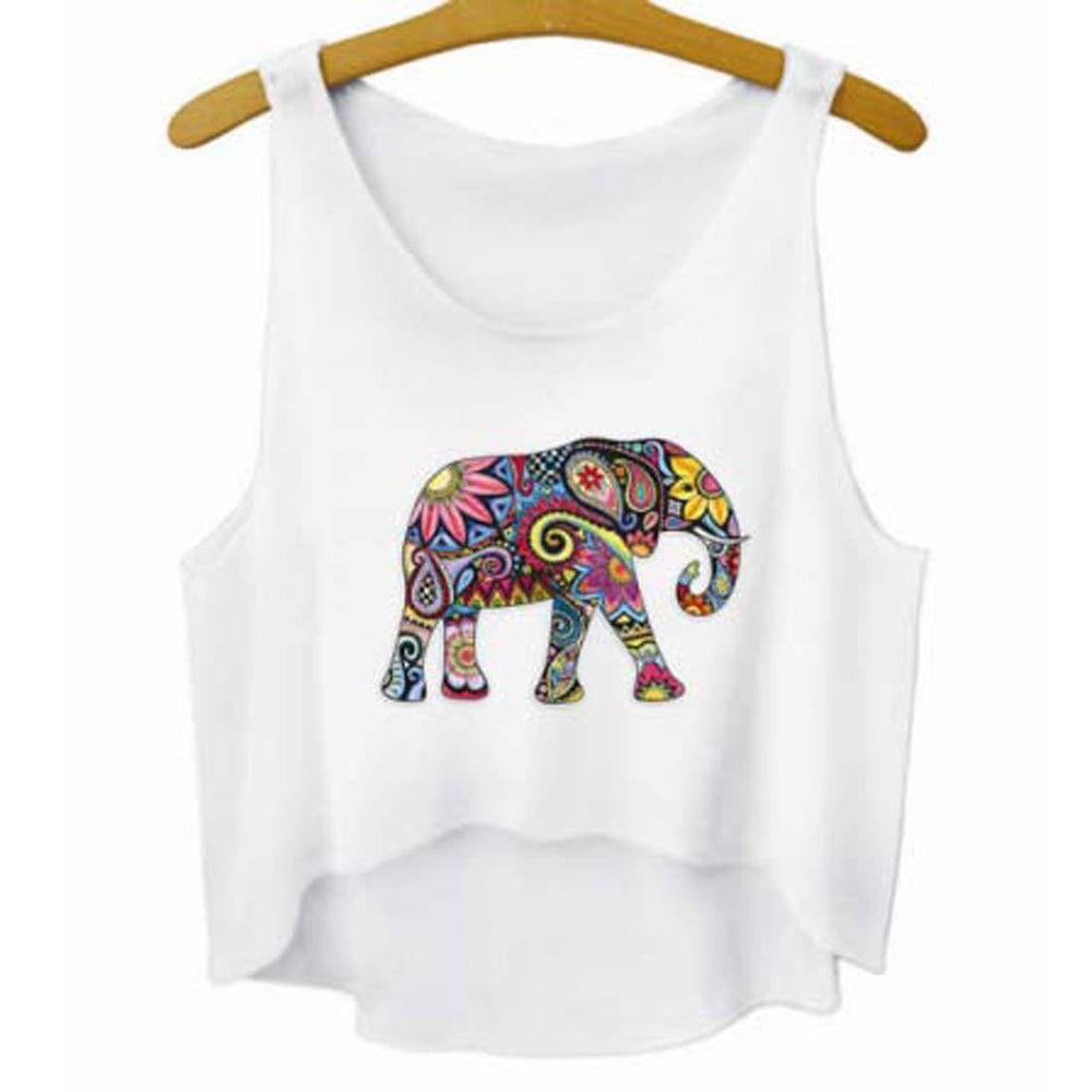 Colorful Floral Print Elephant Silhouette Crop Top Tee