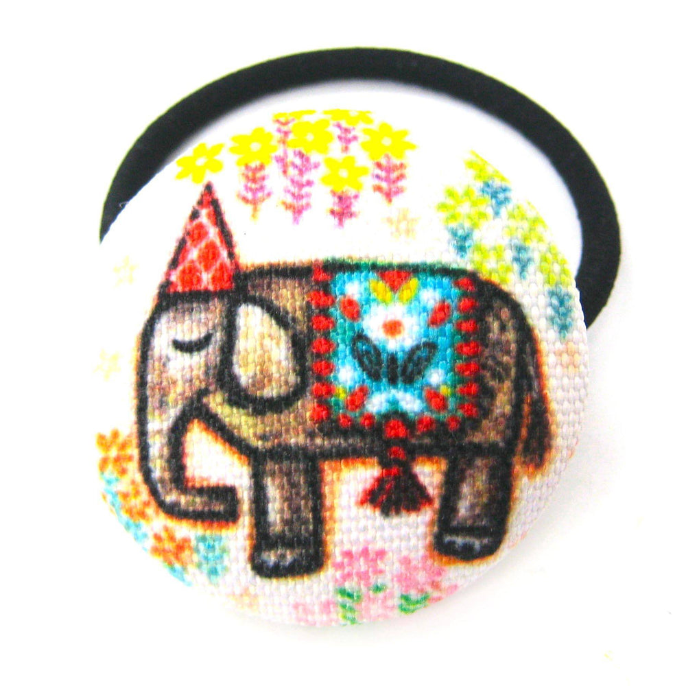 colorful-hand-drawn-elephant-animal-themed-button-hair-tie-pony-tail-holder