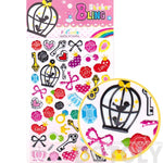 Colorful Hearts Skelelton Keys Bow Tie and Roses Shaped Girly Stickers