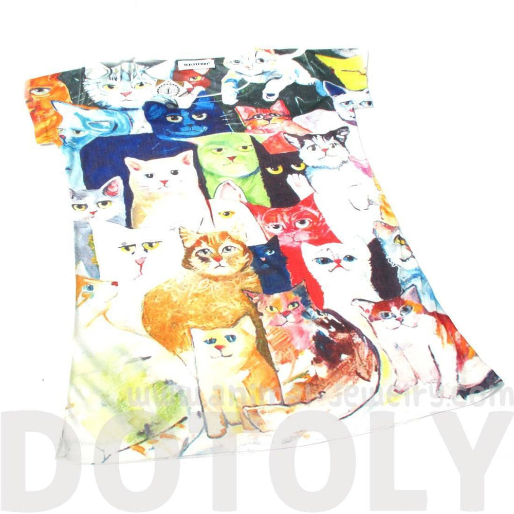 Colorful Kitty Cat Collage Animal Print Graphic Tee T-Shirt for Women