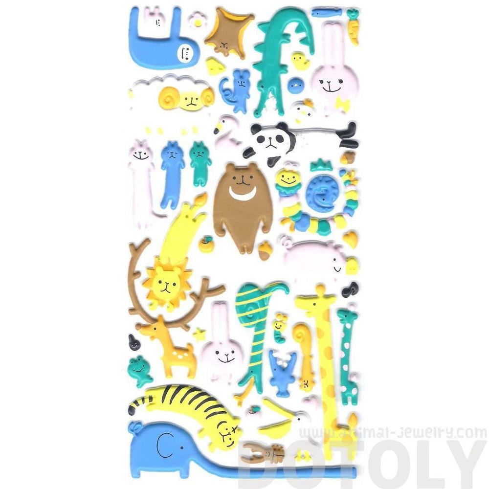 Mixed Animal Sloth Bear Lion Deer Tiger Giraffe Puffy Stickers for Scrapbooking | DOTOLY