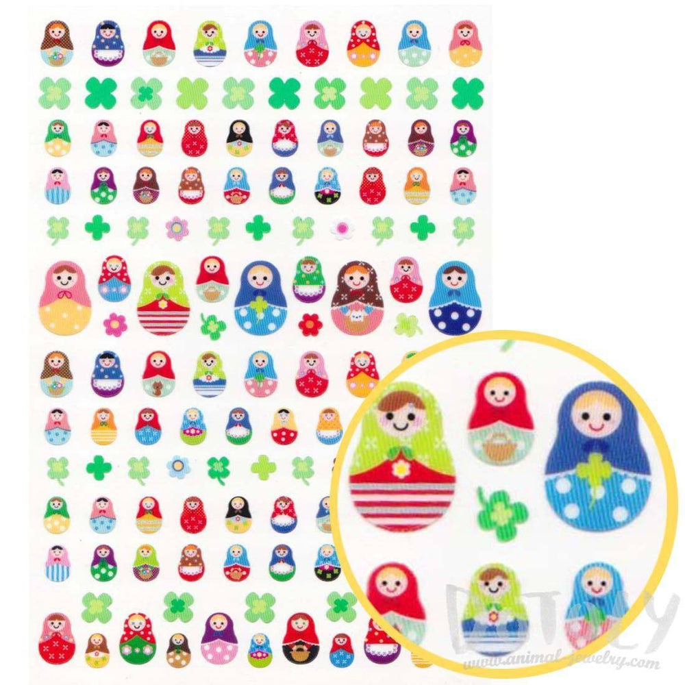 Colorful Russian Matryoshka Dolls Shaped Sticker Sheet