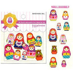 Colorful Russian Dolls Matryoshka Shape Sticker Flake Seals From Japan