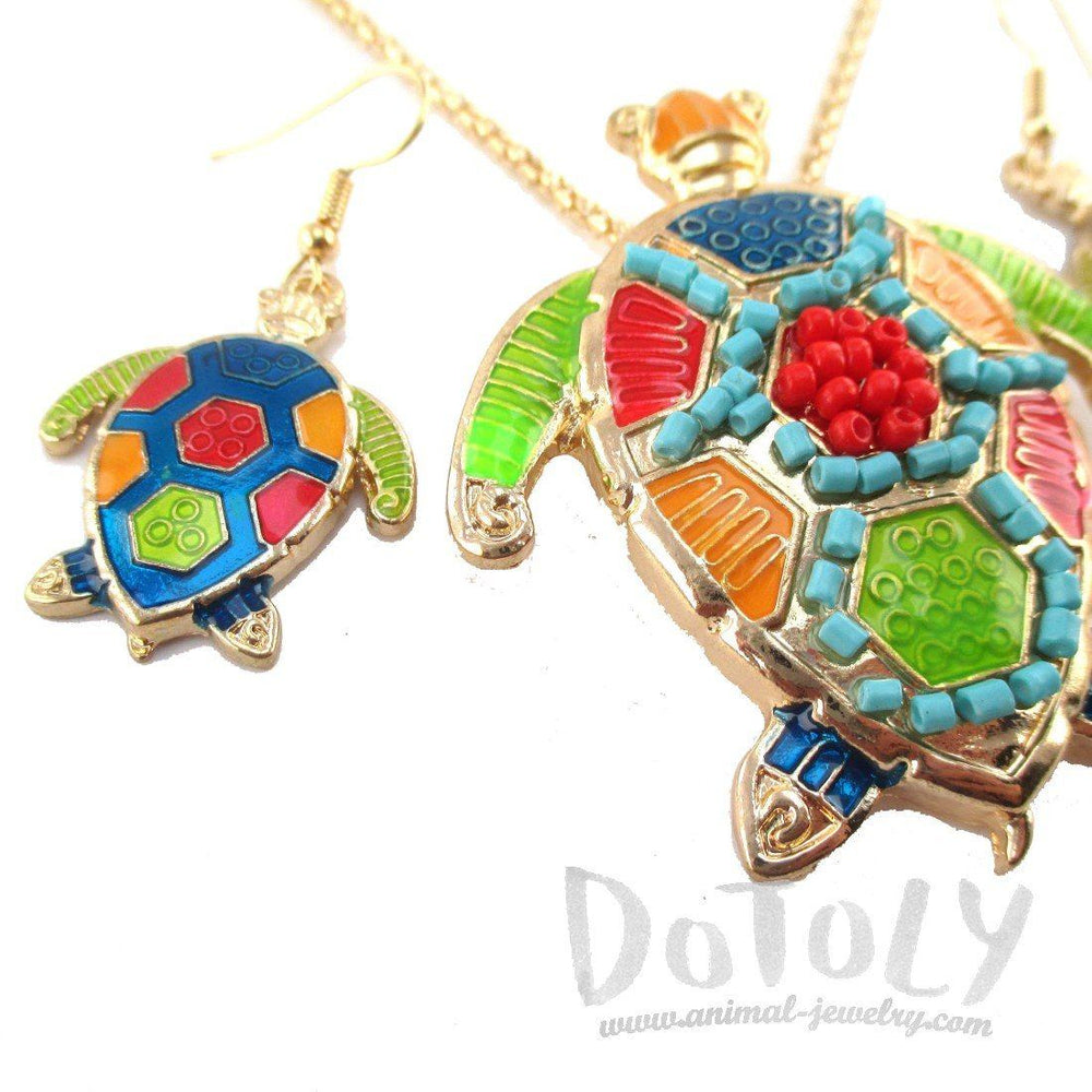 Sea Turtle Dangle Earrings and Beaded Necklace 2 Piece Set in Gold
