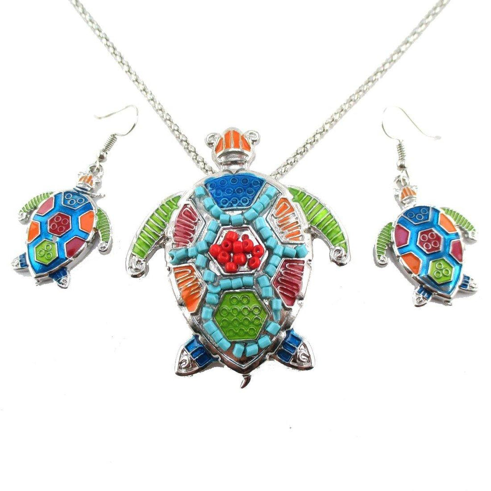 Colorful Sea Turtle Dangle Earrings and Necklace 2 Piece Set in Silver