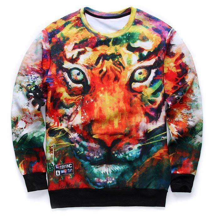 Colorful Tiger Face Painting Print Pullover Sweater