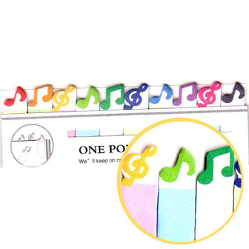 Colorful Treble Clef and Musical Notes Shaped Post-it Bookmark Tabs