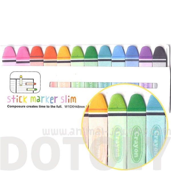 Crayon Shaped Back to School Themed Memo Post it Index Sticky Tabs