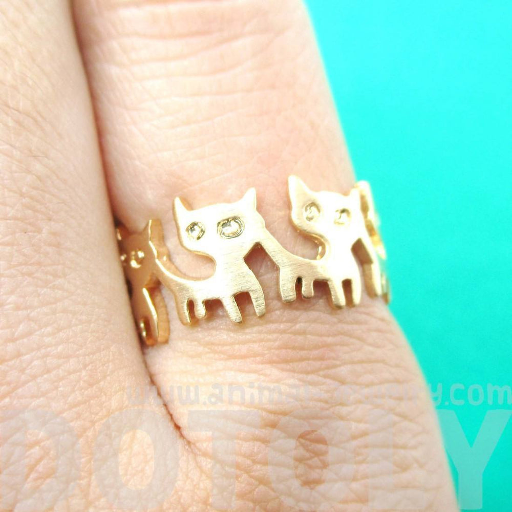 Connected Kitty Cat Parade Animal Ring in Gold | US Size 7 and 8