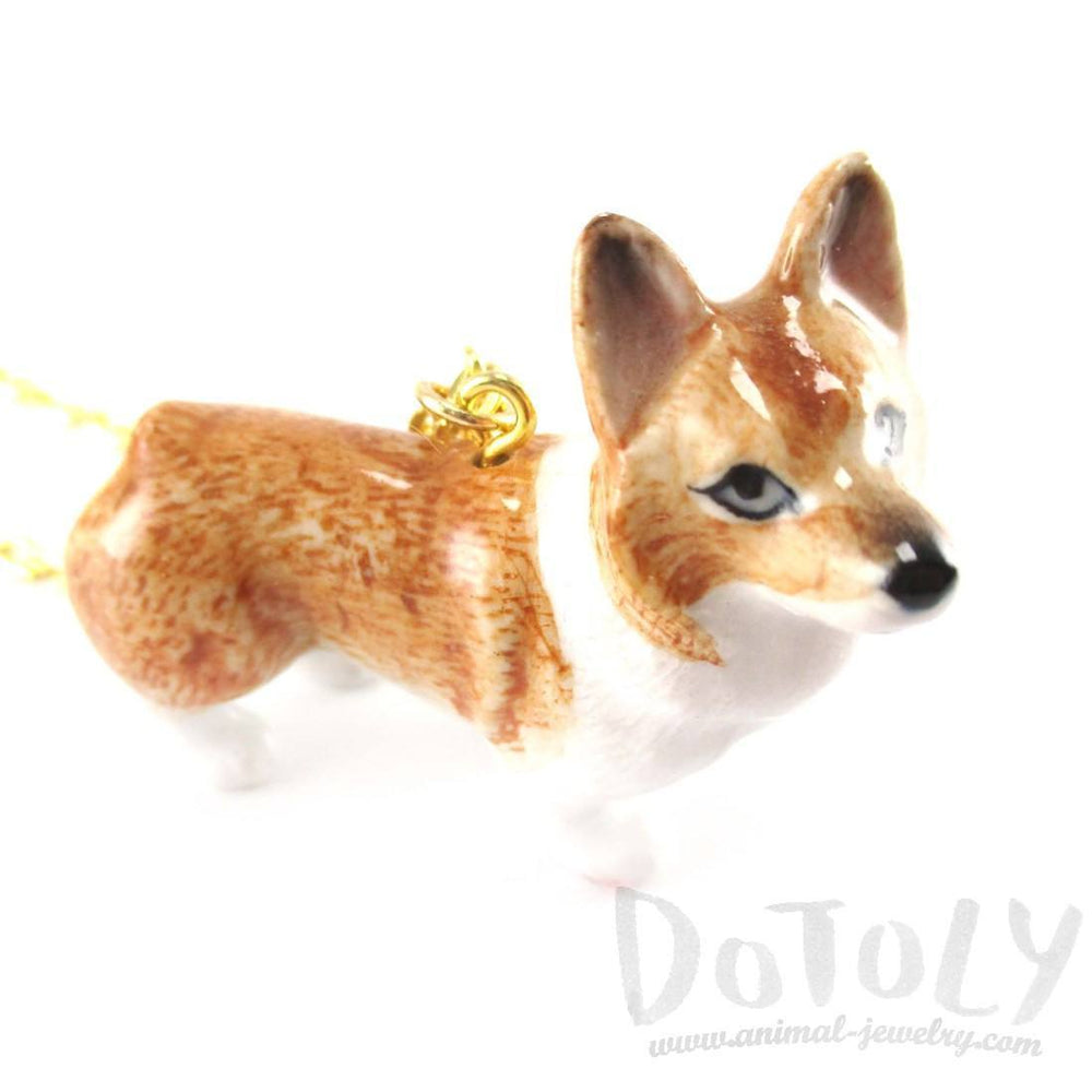 Corgi Puppy Dog Porcelain Hand Painted Ceramic Animal Pendant Necklace