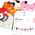 Cow Owl Tiger Bear Pig Shaped Reusable Garland Animal Party Flags