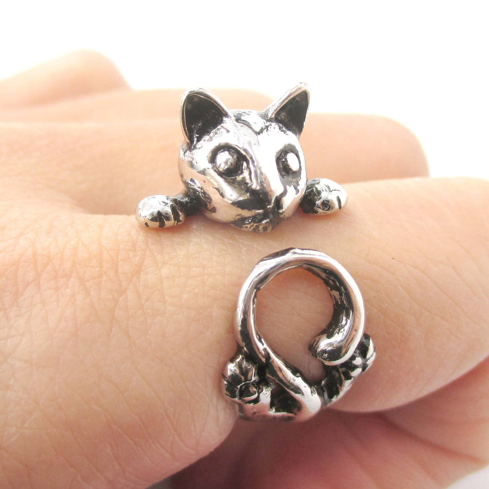 Creepy Kitty Cat Shaped Animal Wrap Around Ring in Shiny Silver