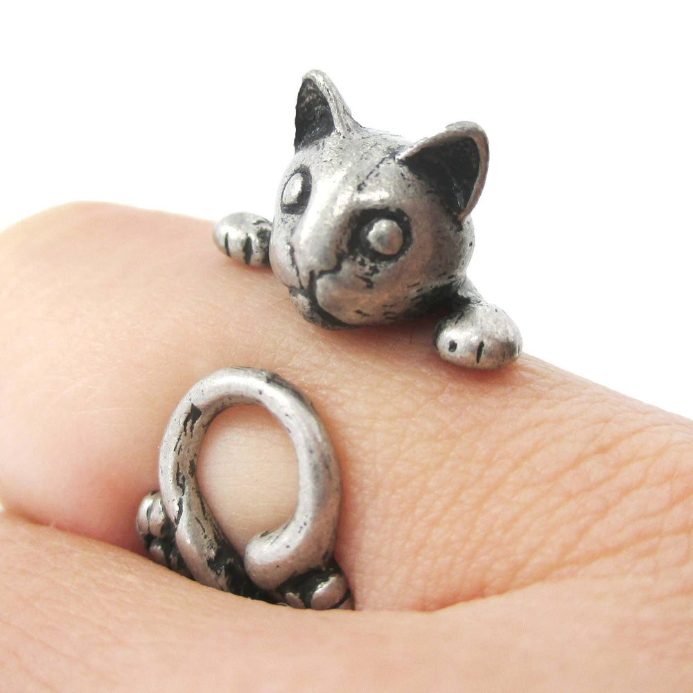 Creepy Kitty Cat Shaped Animal Wrap Around Ring in Silver | DOTOLY