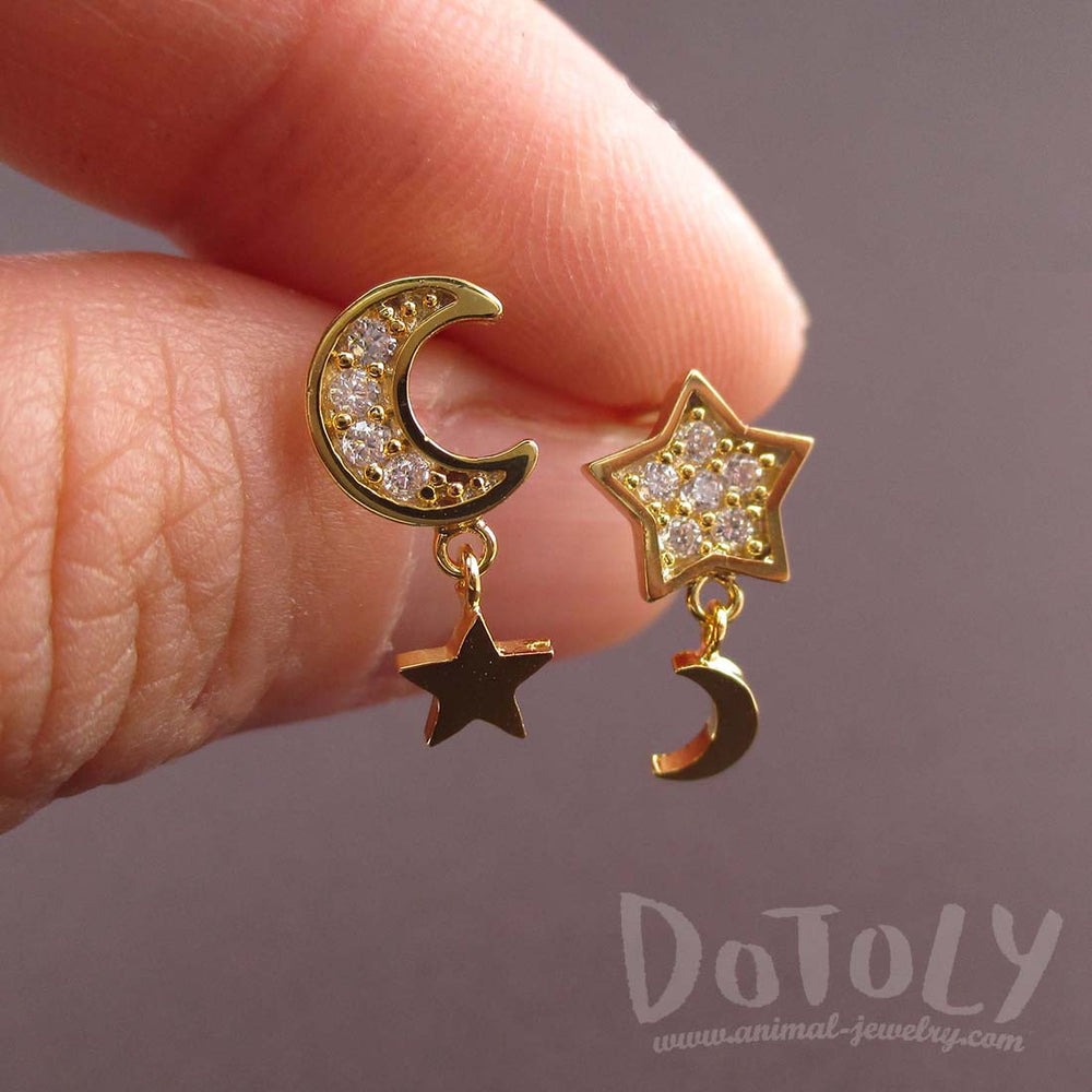 Crescent Moon and Stars Shaped Celestial Space Themed Stud Earrings in Gold