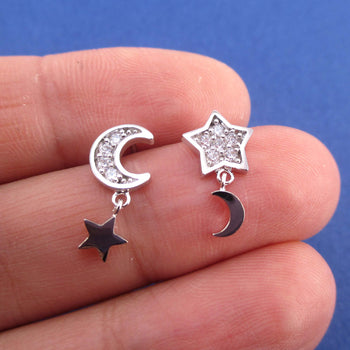 Crescent Moon and Stars Shaped Celestial Space Stud Earrings in Silver