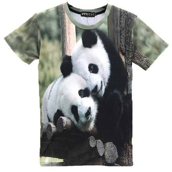 Cuddling Panda Bears All Over Print Graphic T-Shirts