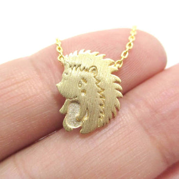 3D Hedgehog Porcupine Animal Pendant Necklace in Gold