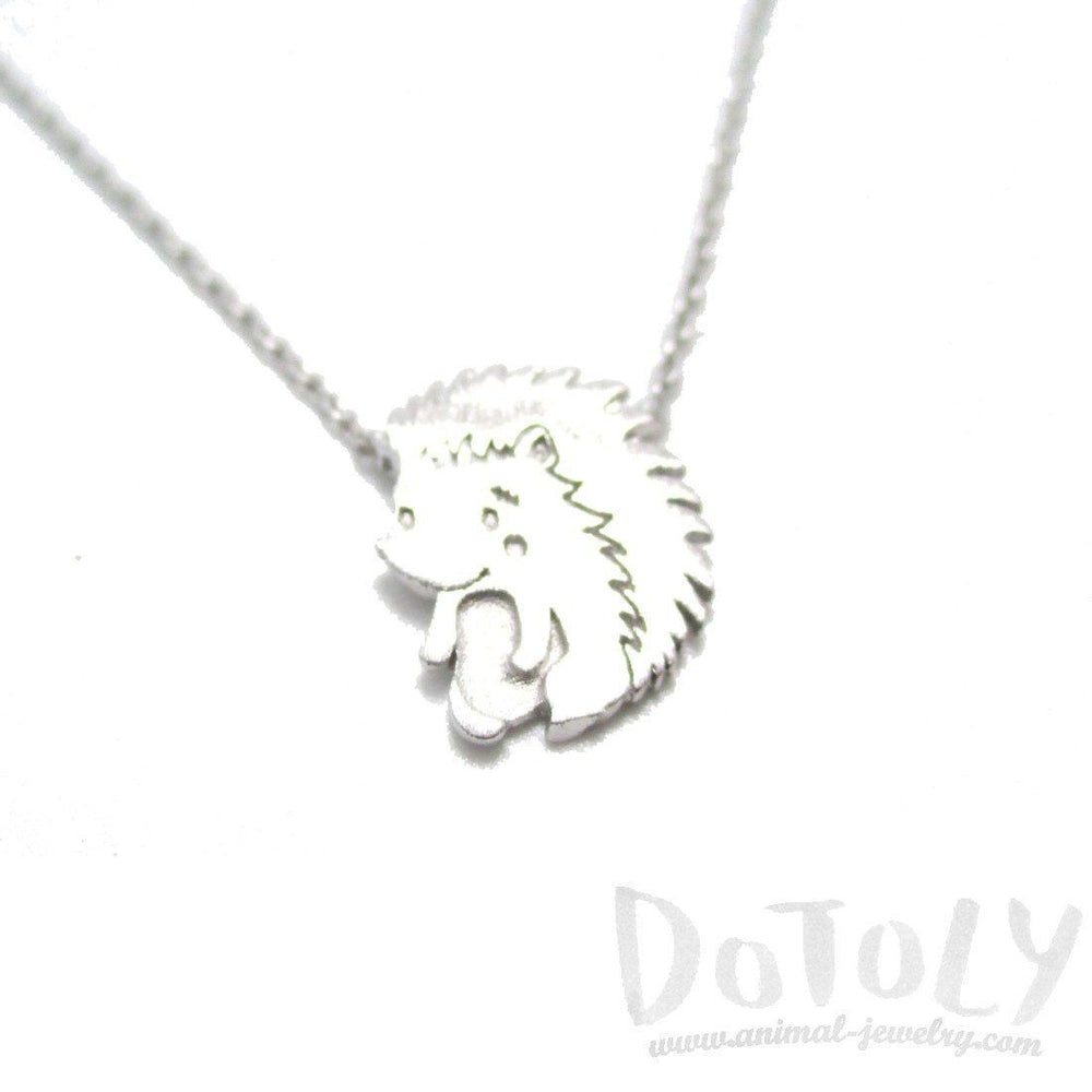 3D Hedgehog Porcupine Animal Pendant Necklace in Silver